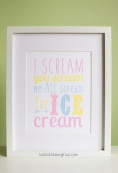 This ice cream poster will be perfect for my party!! I love the colors, so fun and dreamy!