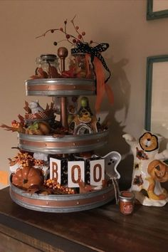Easy DIY Indoor Halloween Decor and Display Ideas, Ways To Decorate Your Tiered Tray For Halloween, Kitchen Counters, or Fireplace Mantle Decorating, Halloween Decor Halloween House, Holidays Halloween, Halloween Crafts, Halloween Decorations, Halloween Kitchen, Harvest Decorations, Spooky Decor, Halloween Boo, Galvanized Tiered Tray