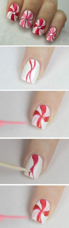Peppermint Swirls | 20+ DIY Christmas Nail Art Ideas for Short Nails