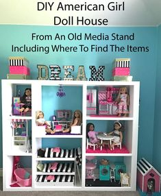 Girl Doll House DIY - Three Story Doll House American Girl Doll House from an old tv media stand we found on the side of the road.American Girl Doll House from an old tv media stand we found on the side of the road. American Girl Storage, American Girl Doll Room, American Girl House, American Girl Crafts, American Girls, American Girl Dollhouse, Ag Doll House, Doll House Plans, Doll Houses