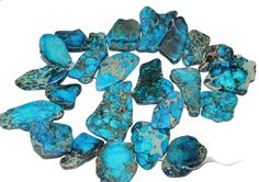 gemspleases : Blue Turquoise African Slab Freeform Turquesa Gemstone Loose Beads