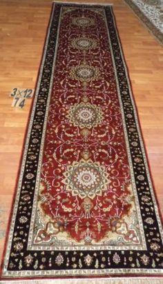 3'x12' Runner Hand-knotted 200 kpsi Silk Oriental Persian Tabriz Rug 608