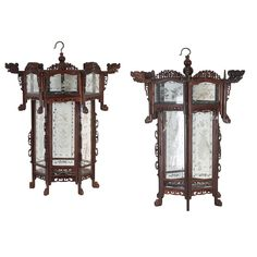 A pair of hardwood hall lanterns Late Qing/Republic Chinese Embroidery, Chinese Lanterns, Chinese Painting, Types Of Art, Horns, Hardwood, Oriental, Auction, Clock