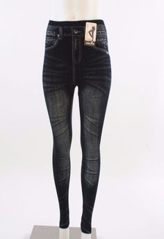New Ladies Denim jean look leggings #Unbranded