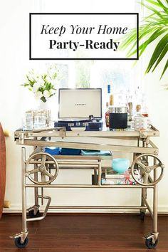 """We've been studying the science behind inviting spaces for years, and you know what says, """"Come hang out!"""" more than anything? A fully stocked bar. We've compiled our favorite bar carts and bar designs for your Pinterest-board frenzy. Check them out in the slideshow!"""