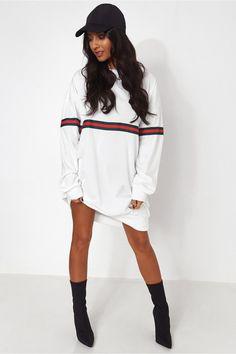 White Stripe Oversized Sweatshirt