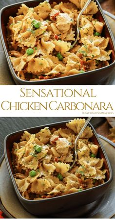 Try the Best Chicken Carbonara recipe with Bacon, chicken and creamy cheesy pasta perfection! An easy way to create a gourmet chicken dinner the entire family will enjoy, with or without Peas, you decide! via Busy Creating Memories Chicken Carbonara Pasta, Alfredo Chicken, Pasta Dishes With Chicken, Pasta Facil, Gourmet Chicken, Gourmet Meals, Kitchen, Bon Appetit, Dinner Ideas