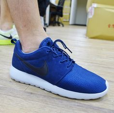 Nike Roshe One Suede Rosherun Navy Black Mens Running Shoes Sneakers 9e0ae3455