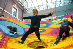 A Nova Scotian couple has designed an enormous crochet playground installation that children can climb and play on.