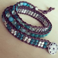 Shimmering sea beaded leather wrap bracelet
