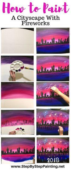 Nieuwjaars tekening. Stap voor stap uitleg met filmpje. Skyline met vuurwerk.