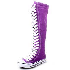 Tall purple sneakers so cute!!