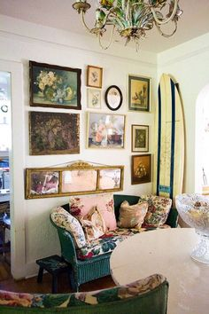 Bohemian Wornest-France I just love this sofa with the floral cushions, speaks to my soul