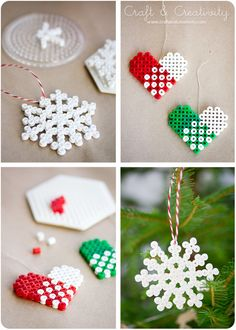 bb posted perler bead - perler Bead christmas ornaments - perler bead valentine's day heart - by Craft & Creativity - Perler-weaving - Hama - - Fuse bead designs - Perler Bead - Perler bead art - to their -christmas xmas ideas- postboa. Christmas Perler Beads, Beaded Christmas Ornaments, Christmas Crafts, Christmas Decorations, Diy Ornaments, Christmas Tree, Dough Ornaments, Christmas Patterns, Snowflake Ornaments