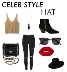 """""""Celeb style : Hats"""" by forever-natural ❤ liked on Polyvore featuring River Island, Giuseppe Zanotti, Chanel, rag & bone, Lime Crime, GetTheLook and hats"""