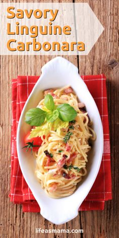 This Linguine Carbonara recipe is to die for! It's a simple version that still has plenty of creamy sauce and my fav- bacon!