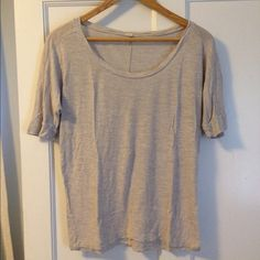 """J. Crew Tee Cute basic tee with sleeves just above elbow length.  Pairs great with jeans or shorts with a necklace.  23 1/2"""" shoulder to hem, 19"""" armpit to armpit in sort of batwing style (see pic). No rips, stains or discoloration.  Size says XS but it still fit me as a S/M just a little tighter, has good stretch,  100% rayon. J. Crew Tops Tees - Short Sleeve"""