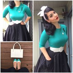 Miss Victory Violet . - Miss Victory Violet - Mode Vintage Outfits, 50s Outfits, Vintage Dresses, Cute Outfits, Sock Hop Outfits, Look Rockabilly, Rockabilly Outfits, Rockabilly Fashion, Look Retro