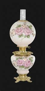 Check out this Hand Painted Bridal Roses Design Parlor Lamp. Antique Oil Lamps, Old Lamps, Antique Lighting, Vintage Lamps, Antique Glassware, Hurricane Oil Lamps, Victorian Lamps, Large Lamps, Kerosene Lamp