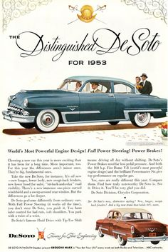 1953 DeSoto - World's Most Powerful Engine Design! Full Power Steering! Power Brakes! - Original Ad