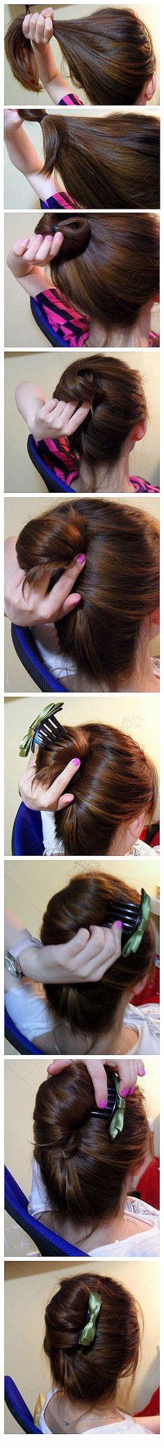 french twist with a bow hair-hair-hair-hair-hair Up Hairstyles, Pretty Hairstyles, Banana Clip Hairstyles, Style Hairstyle, Everyday Hairstyles, Wedding Hairstyles, Tips Belleza, Great Hair, Hair Today