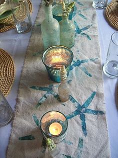 DIY Stamped starfish table runner - Boogieboard Cottage