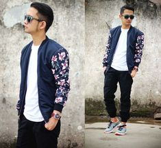 Navy Bomber With Floral Printed Sleeve is amazing to have one