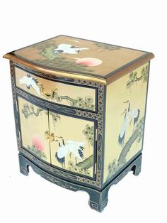 Gold Leaf With Crane Design Side Cabinet Oriental Furniture Chinese Lacquered | eBay