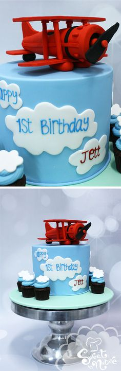 Jett's 1st birthday up in the clouds, with a gorgeous red sugar aeroplane and matching cloud cupcakes! - Made by Sweet By Nature, VIC