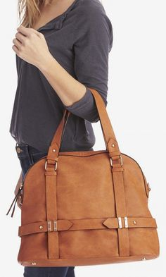 Camel bowler bag with detailed hardware, top handles and removable sholder strap