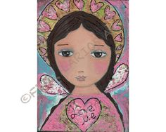 Love Me - Angel Print from Folk Art  Painting (5 x 7 inches PRINT) by FLOR LARIOS