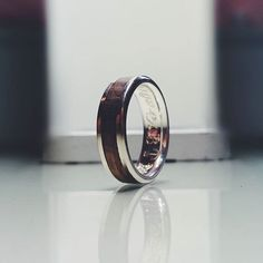 An olive wood and white gold band engraved and on its way to anew happy home Behind The Scenes, White Gold, Wedding Rings, Engagement Rings, Gifts, Jewelry, Happy, Collection, Schmuck
