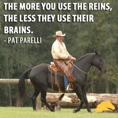 The more you use the reins, the less they use their brains. - Pat Parelli. I need to remember this.