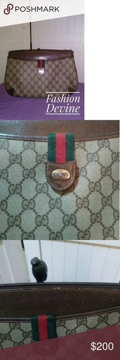Authentic Vintage Gucci Purse Authentic Vintage Gucci Purse. Comes with original dust bag. Strap is removable so it can be used as a clutch. Brown leather near top is a little worn, but otherwise it's in great shape! Gucci Bags Shoulder Bags