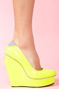 Agnes Platform Wedge - Neon Yellow @Tracy Madoo and @Tiffany Madoo