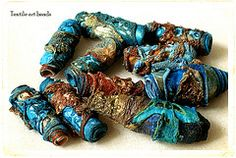 beads inspired by rust and peeling paint (LOVE STITCHING RED) Tags: blue orange brown inspiration green gold beads rust aqua colours handmade turquoise navy textures copper textiles peelingpaint tyvek textileart