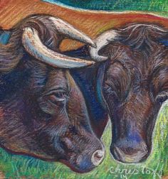 """Emily Christoff's Daily Paints: """"Thelma and Louise"""" 5 x 5"""", Pastel"""