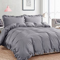 "NTBAY 3 Pieces Duvet Cover Set Washed Cotton Solid Color with Exquisite Ruffles Design, Soft and Comfortable, King Size, Grey - Size: Queen size: Duvet Cover: 90""x90"" Pillow Shams: 20""x26""+2"" King size: Duvet Cover: 104""x 90"" Pillow Shams: 20""x36""+2"" Set Including: 1x Duvet Cover (Comforter is not included in the set) 2x Pillow Shams Note: color of the product may vary on different screens. Introduction of Product This 3 ..."