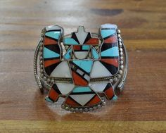 Vintage Zuni Knifewing Kachina Multi-Stone Inlay Cuff Bracelet | Jewelry & Watches, Ethnic, Regional & Tribal, Native American | eBay!