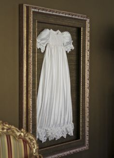 Six Ways to Display Your Child's Special Occasion Dress After She's Done Wearing It - The Cuteness - - framed christening gown Source by kalijovanovski Shadow Box Memory, Shadow Box Frames, Baptism Dress, Christening Gowns, Christening Favors, Blessing Dress, Heirloom Sewing, Vintage Crafts, Photo Displays