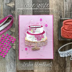 Cake Soirée Wedding Card for GDP123 Theme Challenge by Stesha Bloodhart, Stampin' Hoot! #steshabloodhart #stampinhoot