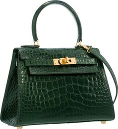 Hermes 20cm Shiny Vert Fonce Alligator Mini Sellier Kelly Bag withGold Hardware. V
