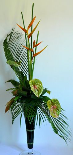 Heliconia, Anthurium, Croton, Bird's Nest Fern, manipulated palm frond