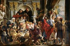 Biblical Paintings - Christ Driving the Merchants from the Temple by Jacob Jordaens
