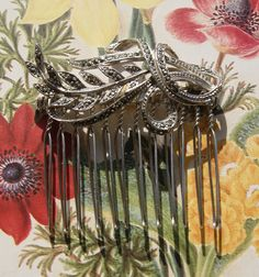 Vintage Marcasite Hair Comb, Silver Tone Floral Leaves Spray- Wedding, Bridal, Prom Hair Accessories by UniqueHairCombs on Etsy
