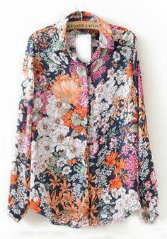 Multicolor Floral Buttons Lapel Cotton Blend Blouse