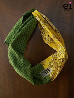 Faixa turbante regulável Verde Escuro e Amarela - G: R$28