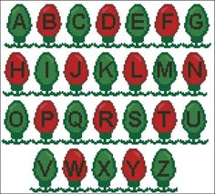 Christmas Lights Alphabet Plastic Canvas Letters, Plastic Canvas Ornaments, Plastic Canvas Christmas, Plastic Canvas Crafts, 123 Cross Stitch, Cross Stitch Letters, Beaded Cross Stitch, Cross Stitch Embroidery, Needlepoint Patterns