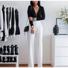 59 Ideas For Party Outfit Simple Classy Black White White Outfits, Classy Outfits, Casual Outfits, Fashion Outfits, Work Outfits, Looks Chic, White Fashion, Autumn Winter Fashion, Ideias Fashion