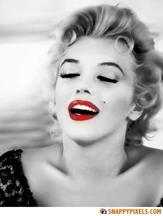 Marilyn Monroe Black and White Pictures with Red Lips